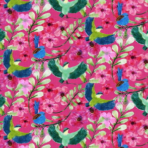 Floral Watercolour tiles_Pink Background