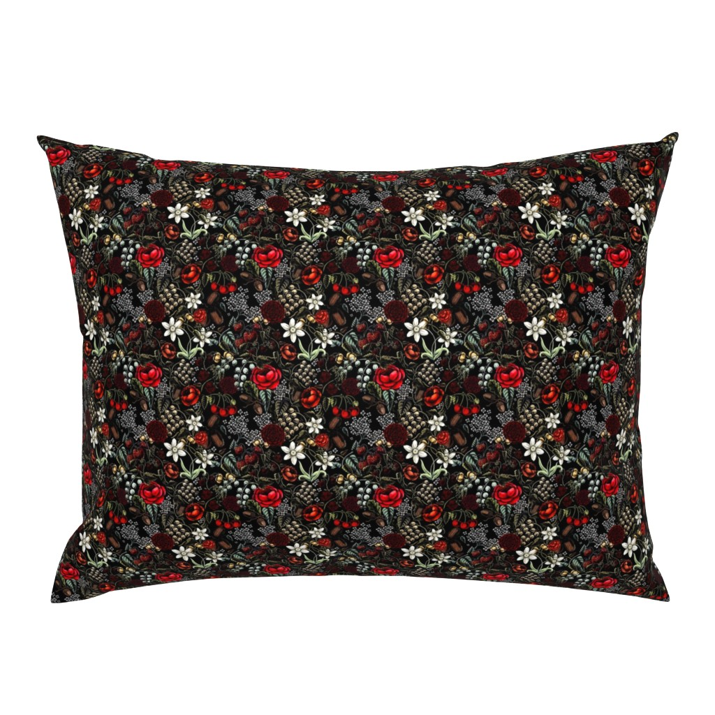 Campine Pillow Sham featuring creepy Vintage flowers and berries  by darkdarkrezzi