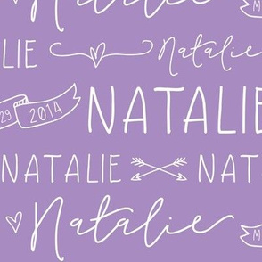 Girls Personalized Name Fabric // Violet and White - Natalie