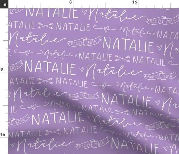 66a9fbf33e5b Fabric by the Yard Girls Personalized Name Fabric // Violet and White -  Natalie