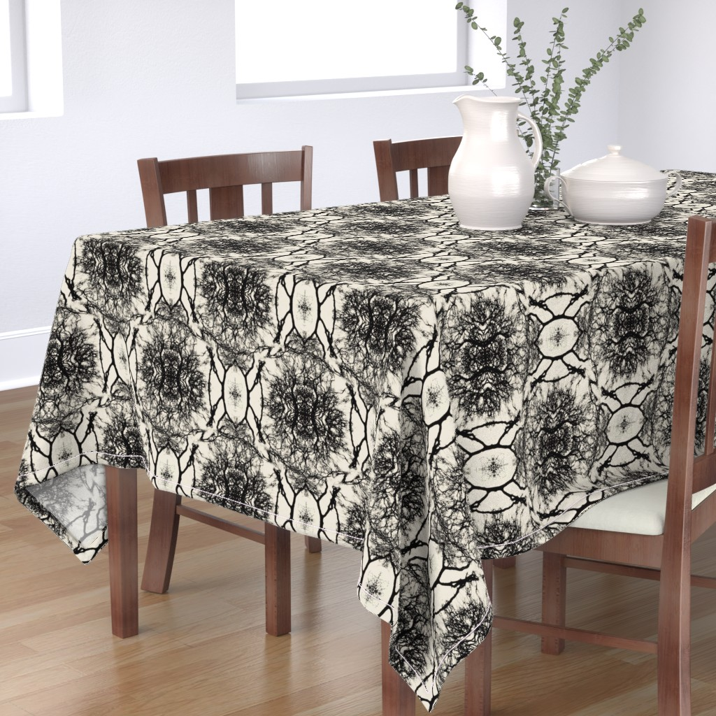 Bantam Rectangular Tablecloth featuring Dream branches, pristine & black by ejmart