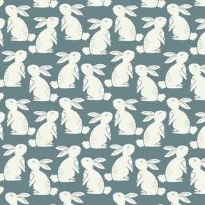 white bunny rabbits on blue