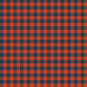 """5/16"""" wool parka gingham - red and navy"""
