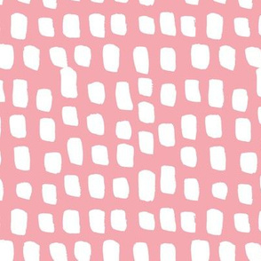 Abstract white spots Scandinavian minimal designs brush dashes pink