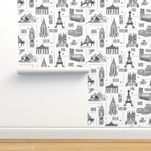 Wallpaper Globetrotter - Travel Map Coloring Book Style
