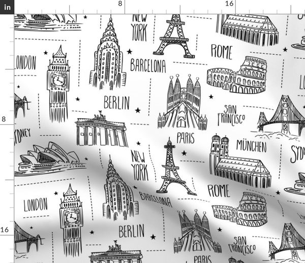 Fabric by the Yard Globetrotter - Travel Map Coloring Book Style