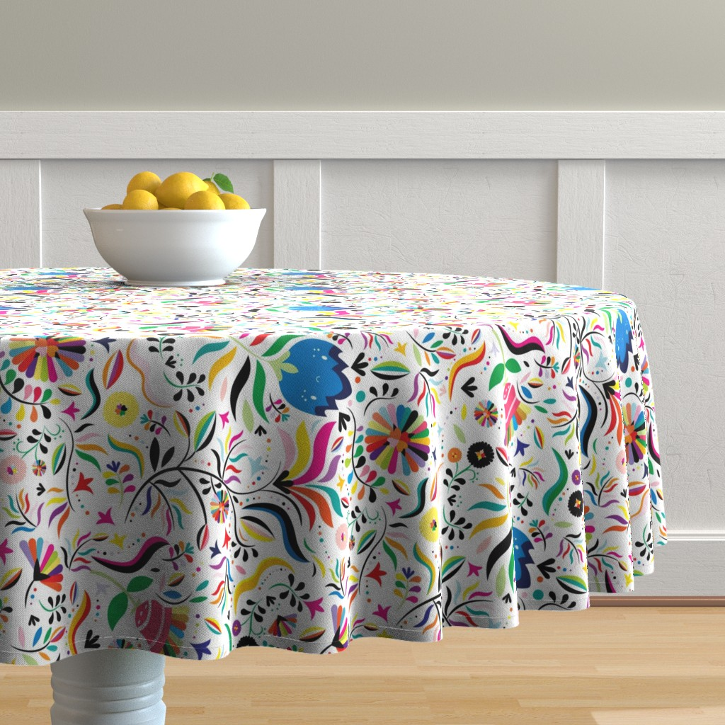 Malay Round Tablecloth featuring Xochitl Vertical by ginamayes