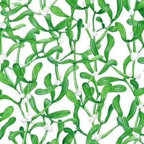 Green Mistletoe Berries Pattern
