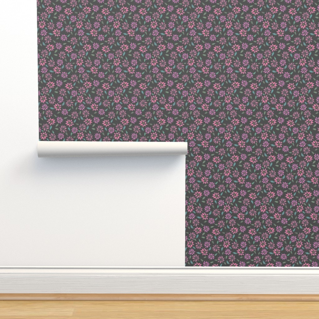 Isobar Durable Wallpaper featuring Poinsettias - Charcoal - Small Scale by byre_wilde