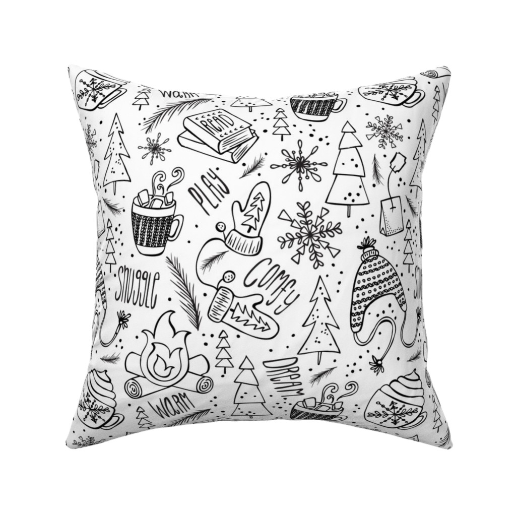 Catalan Throw Pillow featuring Snow Day Hooray! Coloring Book Style by heatherdutton