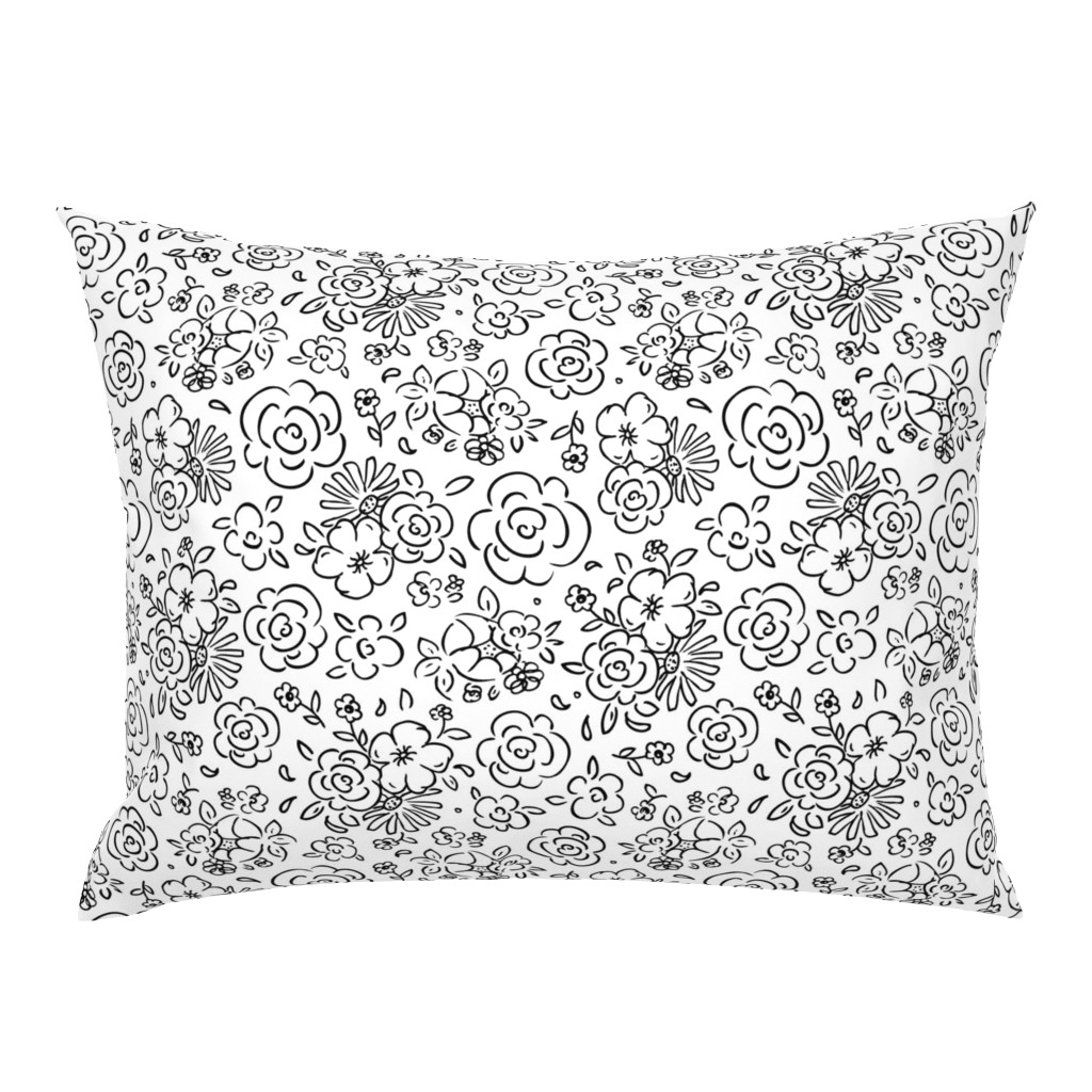 Campine Pillow Sham featuring Dainty Details Coloring Book Style by heatherdutton