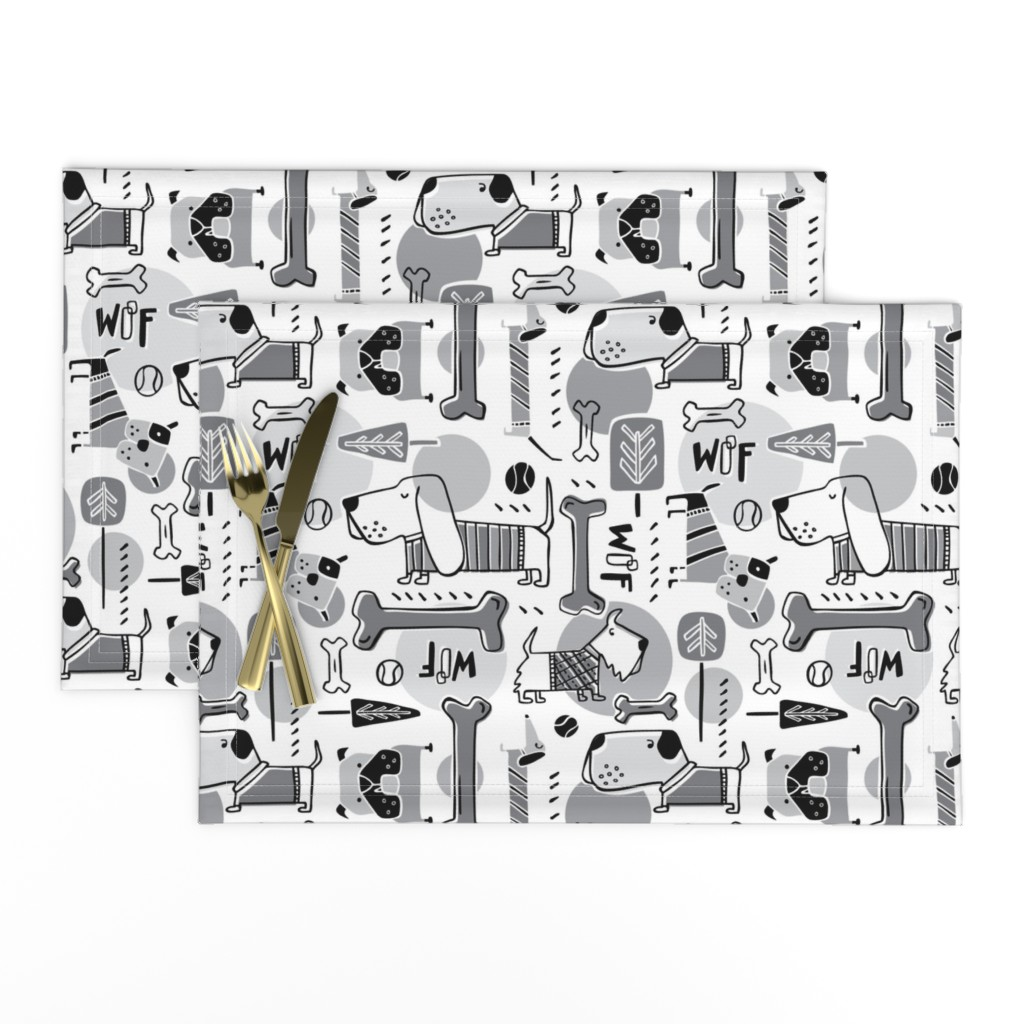Lamona Cloth Placemats featuring Dog Park  - Black & Grey by heatherdutton