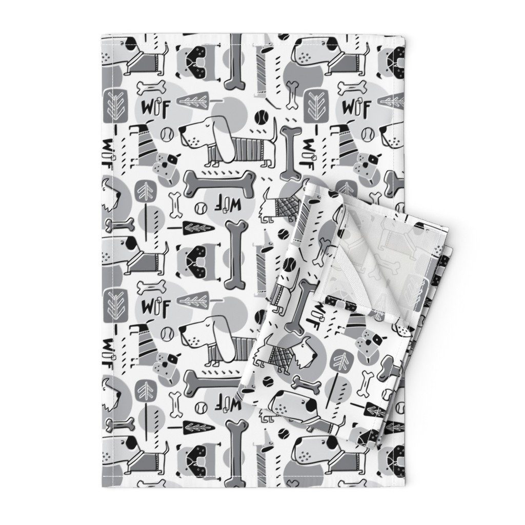 Orpington Tea Towels featuring Dog Park  - Black & Grey by heatherdutton