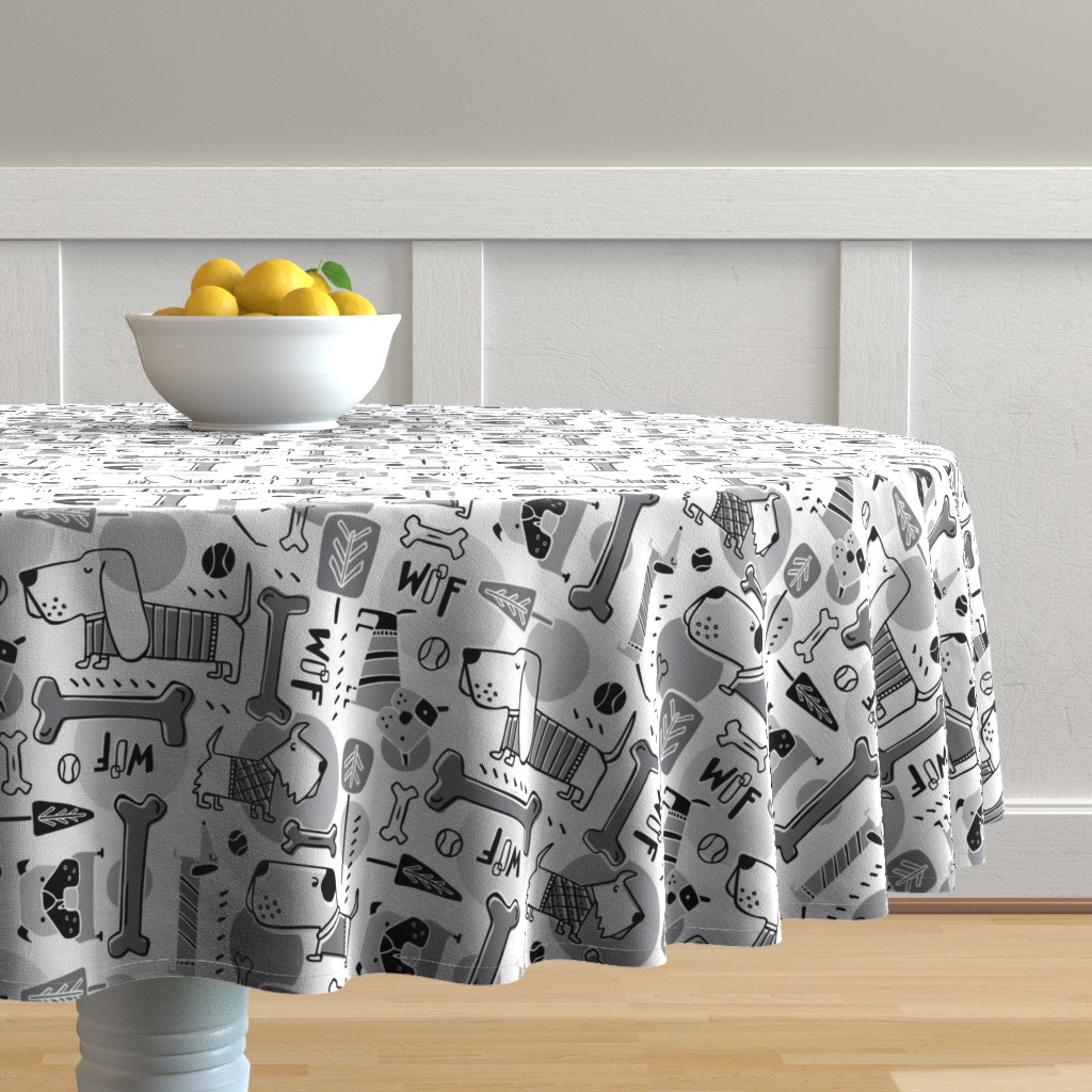 Malay Round Tablecloth featuring Dog Park  - Black & Grey by heatherdutton