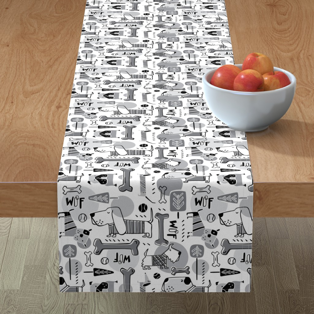 Minorca Table Runner featuring Dog Park  - Black & Grey by heatherdutton
