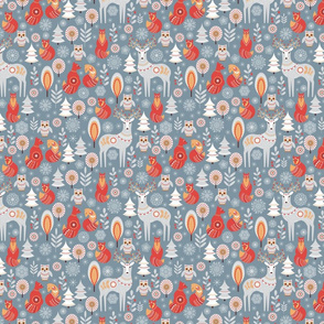 Seamless pattern with winter forest, deer, owl and fox.