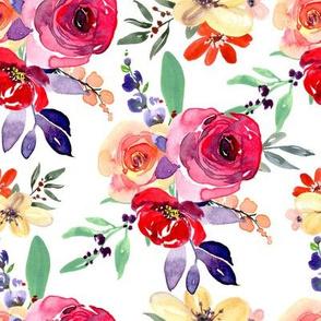 Watercolor purple roses bouquets