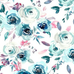 Blue winter watercolor roses bouquets with pink leaves and branches