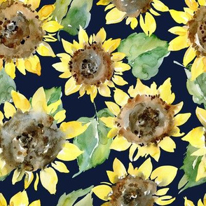 Watercolor Sunflowers on dark blue background