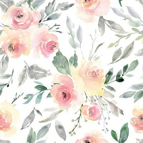 Watercolor flowers bouquets soft light pink yellow roses peonies