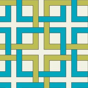 Interlocking squares - april rain