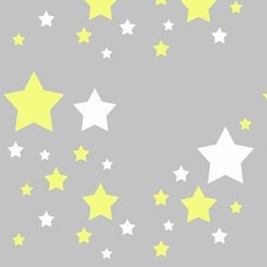 Celestial Yellow White Stars on Grey Gray