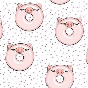 piggy donut - cute pig (purple dots)
