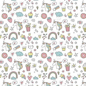 Cute unicorn lifestyle pattern