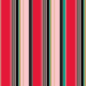 Stripes red pink teal
