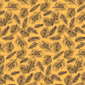 Pine-Pattern-Outlnes-Black-Yellow
