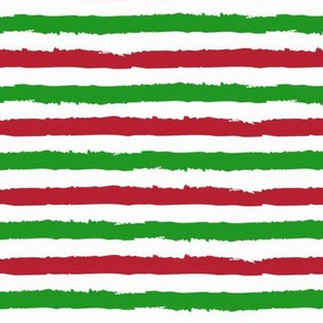 Christmas Chalk Stripes in Red Green and White / Holiday Stripes Christmas Print