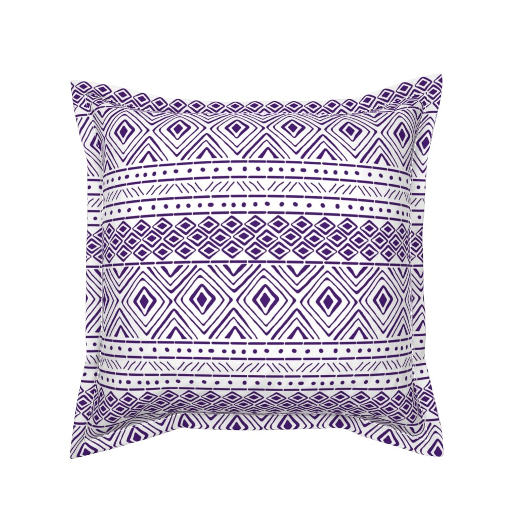 Serama Throw Pillow featuring Ornate Purple Mud Cloth // Small by thinlinetextiles