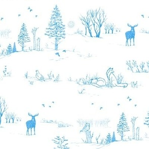 Winter Forest Toile in Ice Blue | Pencil sketch Scandinavian wildlife: fox, moose and owl. Christmas nature, northern forest, snow scene.