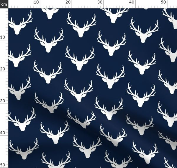 Navy White Deer Antlers Woodland, Blue Deer Head Baby Bedding