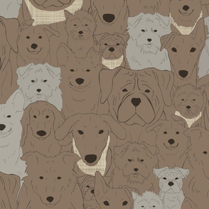 Menagerie of Marvelous Mutts - dogs in earth brown tones large
