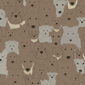 Menagerie of Marvelous Mutts - dogs in earth brown tones medium