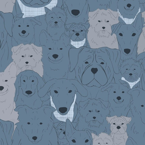 Menagerie of Marvelous Mutts - dogs in slate blue tones large