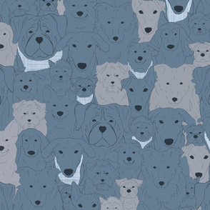 Menagerie of Marvelous Mutts - dogs in slate blue tones medium