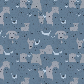 Menagerie of Marvelous Mutts - dogs in slate blue tones small