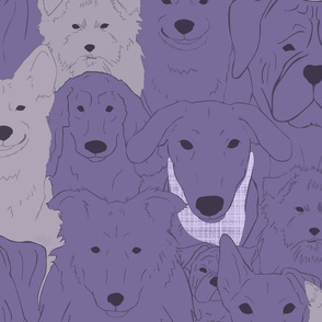 Menagerie of Marvelous Mutts - dogs in lavender bloom tones XL