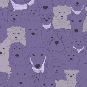 Menagerie of Marvelous Mutts - dogs in lavender bloom tones large