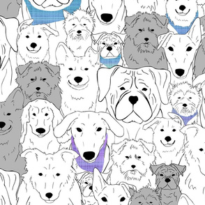 Menagerie of Marvelous Mutts - dogs in evening sky bandanas large