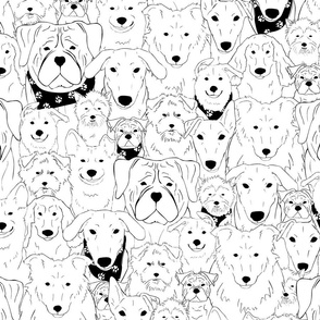 Menagerie of Marvelous Mutts - black & white dogs