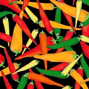 Hot Pepper Peppers Black