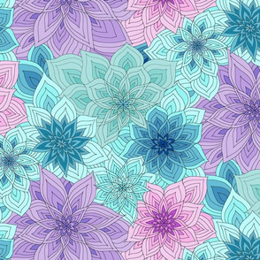 Turquoise Gradation Floral