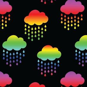 Rainbow Rain Clouds on Black