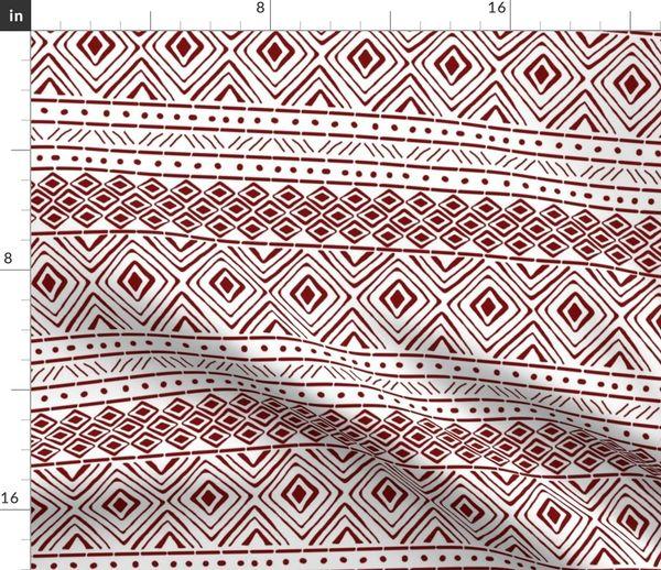 Ornate Maroon Mud Cloth Small Spoonflower