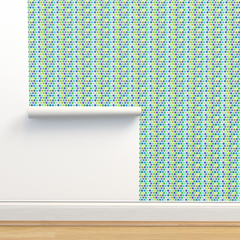 Isobar Durable Wallpaper featuring Blue green dots by palusalu