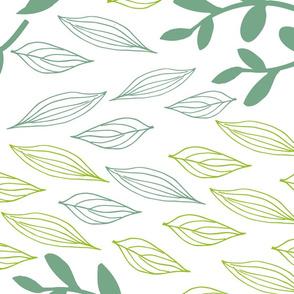 Botanical Block Printing Green Leaves