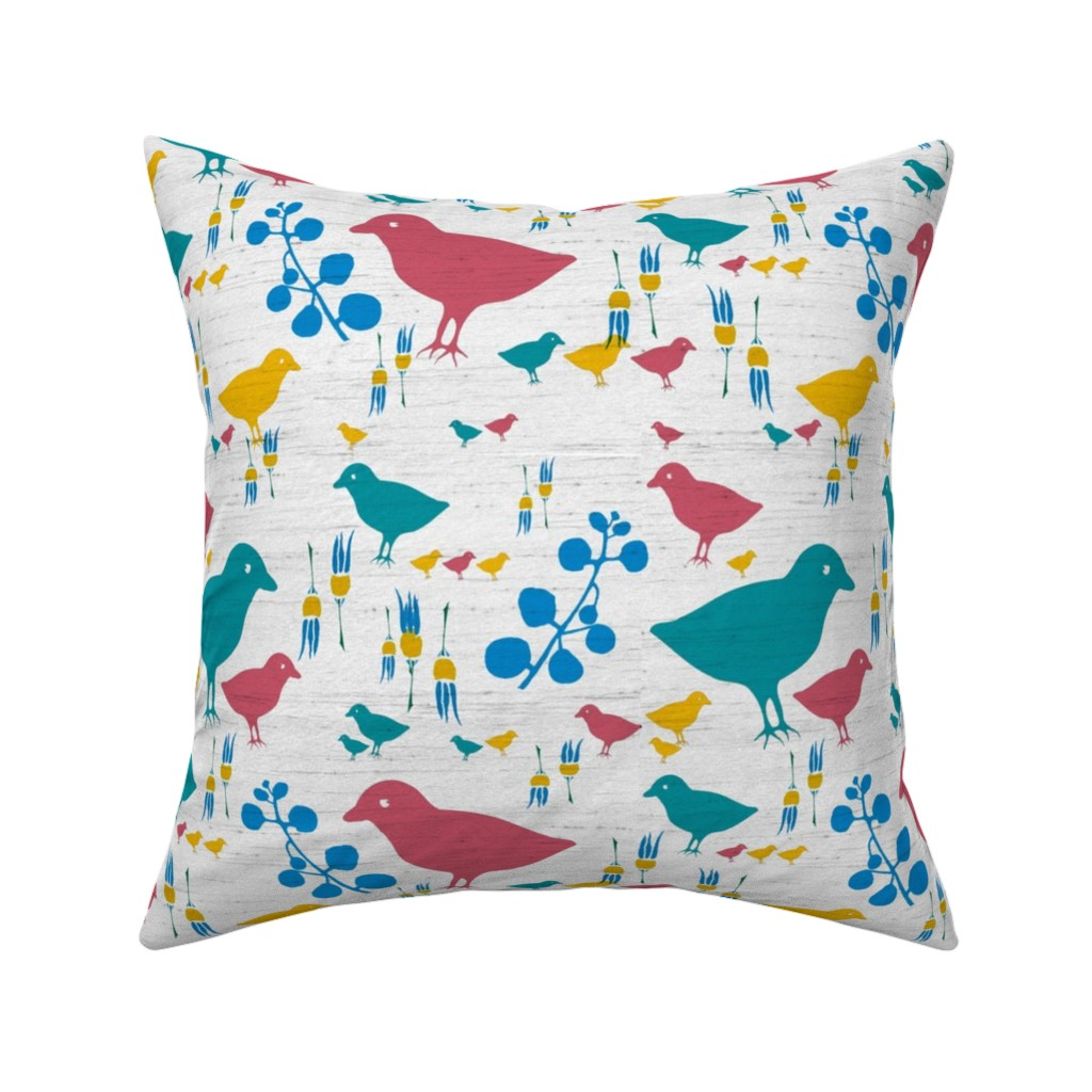 Catalan Throw Pillow featuring colored birds by variable